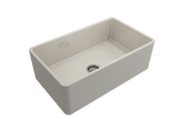"BOCCHI Classico 30"" Fireclay Farmhouse Apron Single Bowl Kitchen Sink, Biscuit, 1138-014-0120 