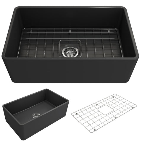 "BOCCHI Classico 30"" Fireclay Farmhouse Apron Single Bowl Kitchen Sink, Matte Dark Gray, 1138-020-0120 Showcase Image 