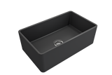 "BOCCHI Classico 30"" Fireclay Farmhouse Apron Single Bowl Kitchen Sink, Matte Dark Gray, 1138-020-0120 