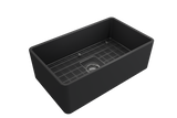 "BOCCHI Classico 30"" Fireclay Farmhouse Apron Single Bowl Kitchen Sink, Matte Dark Gray, 1138-020-0120 with Grid Angled View 