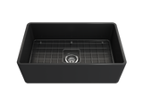 "BOCCHI Classico 30"" Fireclay Farmhouse Apron Single Bowl Kitchen Sink, Matte Dark Gray, 1138-020-0120 with Grid Straight View 