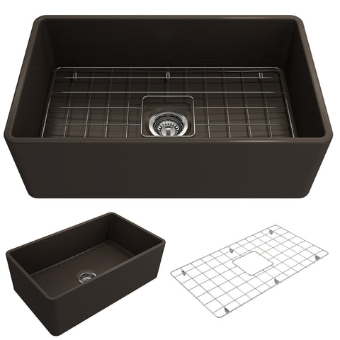 "BOCCHI Classico 30"" Fireclay Farmhouse Apron Single Bowl Kitchen Sink, Matte Brown, 1138-025-0120"