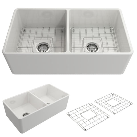 "BOCCHI Classico 33"" Fireclay Farmhouse Apron 50/50 Double Bowl Kitchen Sink, White, 1139-001-0120"