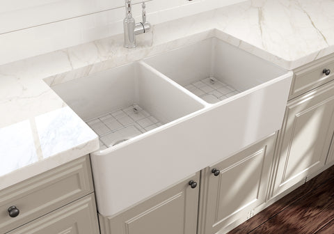 "BOCCHI Classico 33"" Fireclay Farmhouse Apron 50/50 Double Bowl Kitchen Sink, White, 1139-001-0120 Lifestyle Image 