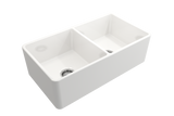 "BOCCHI Classico 33"" Fireclay Farmhouse Apron 50/50 Double Bowl Kitchen Sink, White, 1139-001-0120 