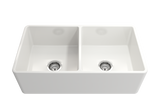 "BOCCHI Classico 33"" Fireclay Farmhouse Apron 50/50 Double Bowl Kitchen Sink, White, 1139-001-0120 Straight View 
