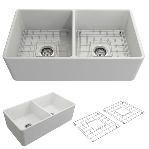 "BOCCHI Classico 33"" Fireclay Farmhouse Apron 50/50 Double Bowl Kitchen Sink, Matte White, 1139-002-0120 Showcase Image 