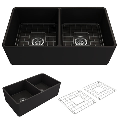 "BOCCHI Classico 33"" Fireclay Farmhouse Apron 50/50 Double Bowl Kitchen Sink, Matte Black, 1139-004-0120 Showcase Image 