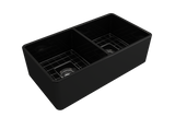 "BOCCHI Classico 33"" Fireclay Farmhouse Apron 50/50 Double Bowl Kitchen Sink, Matte Black, 1139-004-0120 with Grid Angled View 