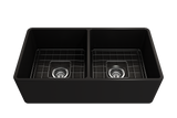 "BOCCHI Classico 33"" Fireclay Farmhouse Apron 50/50 Double Bowl Kitchen Sink, Matte Black, 1139-004-0120 with Grid Straight View 