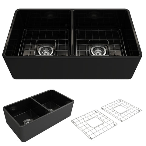 "BOCCHI Classico 33"" Fireclay Farmhouse Apron 50/50 Double Bowl Kitchen Sink, Black, 1139-005-0120 Showcase Image 