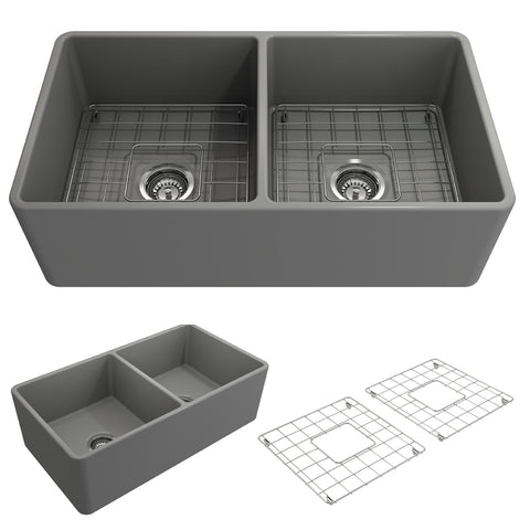 "BOCCHI Classico 33"" Fireclay Farmhouse Apron 50/50 Double Bowl Kitchen Sink, Matte Gray, 1139-006-0120 Showcase Image 