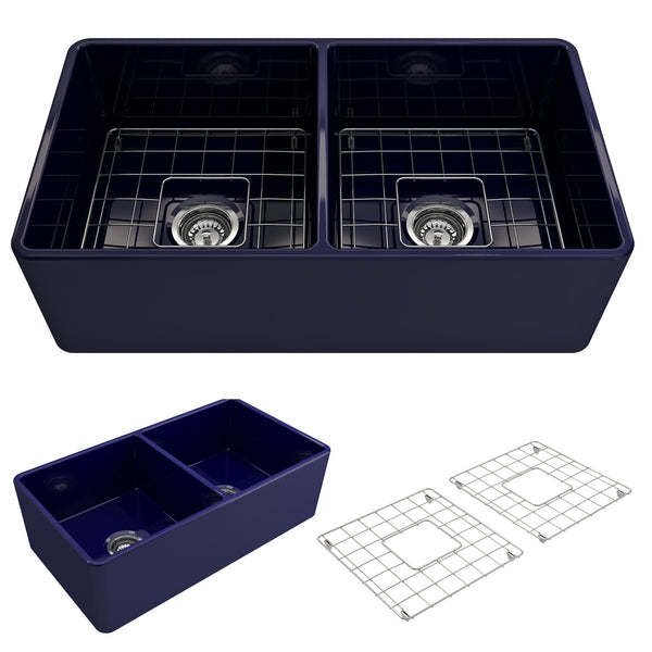 "BOCCHI Classico 33"" Fireclay Farmhouse Apron 50/50 Double Bowl Kitchen Sink, Sapphire Blue, 1139-010-0120 Showcase Image 