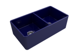 "BOCCHI Classico 33"" Fireclay Farmhouse Apron 50/50 Double Bowl Kitchen Sink, Sapphire Blue, 1139-010-0120 