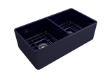 "BOCCHI Classico 33"" Fireclay Farmhouse Apron 50/50 Double Bowl Kitchen Sink, Sapphire Blue, 1139-010-0120 with Grid Angled View 