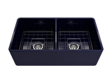 "BOCCHI Classico 33"" Fireclay Farmhouse Apron 50/50 Double Bowl Kitchen Sink, Sapphire Blue, 1139-010-0120 with Grid Straight View 