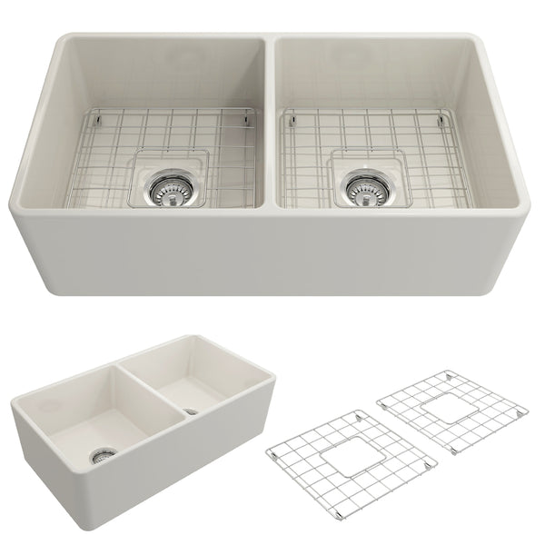 "BOCCHI Classico 33"" Fireclay Farmhouse Apron 50/50 Double Bowl Kitchen Sink, Biscuit, 1139-014-0120 Showcase Image 