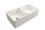 "BOCCHI Classico 33"" Fireclay Farmhouse Apron 50/50 Double Bowl Kitchen Sink, Biscuit, 1139-014-0120 
