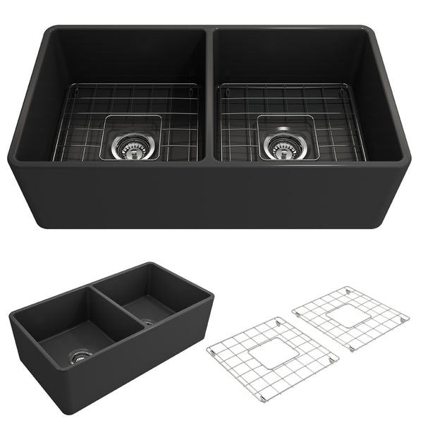 "BOCCHI Classico 33"" Fireclay Farmhouse Apron 50/50 Double Bowl Kitchen Sink, Matte Dark Gray, 1139-020-0120 Showcase Image 
