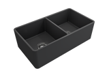 "BOCCHI Classico 33"" Fireclay Farmhouse Apron 50/50 Double Bowl Kitchen Sink, Matte Dark Gray, 1139-020-0120 
