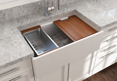"BOCCHI Contempo 30"" Fireclay Farmhouse Sink with Accessory Ledge, White, 1344-001-0120"