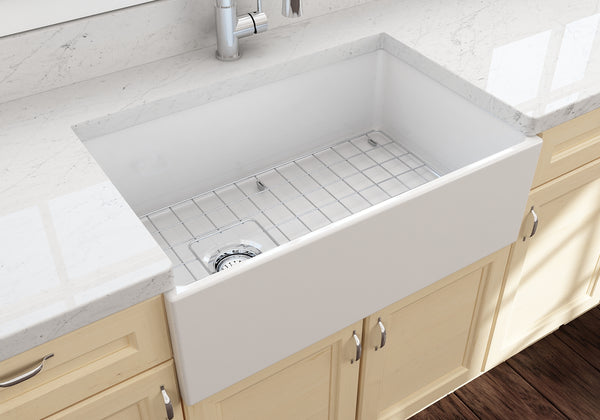 "BOCCHI Contempo 30"" Fireclay Farmhouse Apron Single Bowl Kitchen Sink, White, 1346-001-0120 Lifestyle Image 