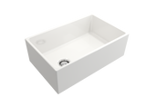 "BOCCHI Contempo 30"" Fireclay Farmhouse Apron Single Bowl Kitchen Sink, White, 1346-001-0120 