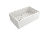 "BOCCHI Contempo 30"" Fireclay Farmhouse Apron Single Bowl Kitchen Sink, White, 1346-001-0120 with Grid Angled View 