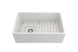 "BOCCHI Contempo 30"" Fireclay Farmhouse Apron Single Bowl Kitchen Sink, White, 1346-001-0120 with Grid Straight View 