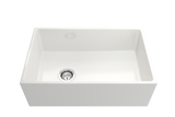 "BOCCHI Contempo 30"" Fireclay Farmhouse Apron Single Bowl Kitchen Sink, White, 1346-001-0120 Straight View 