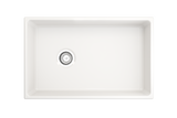 "BOCCHI Contempo 30"" Fireclay Farmhouse Apron Single Bowl Kitchen Sink, White, 1346-001-0120 Top View 
