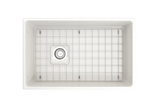 "BOCCHI Contempo 30"" Fireclay Farmhouse Apron Single Bowl Kitchen Sink, White, 1346-001-0120 Top View with Grid 