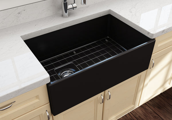 "BOCCHI Contempo 30"" Fireclay Farmhouse Apron Single Bowl Kitchen Sink, Matte Black, 1346-004-0120 Lifestyle Image 