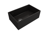 "BOCCHI Contempo 30"" Fireclay Farmhouse Apron Single Bowl Kitchen Sink, Matte Black, 1346-004-0120 