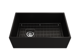 "BOCCHI Contempo 30"" Fireclay Farmhouse Apron Single Bowl Kitchen Sink, Matte Black, 1346-004-0120 with Grid Angled View 