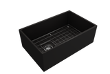 "BOCCHI Contempo 30"" Fireclay Farmhouse Apron Single Bowl Kitchen Sink, Matte Black, 1346-004-0120 with Grid Straight View 
