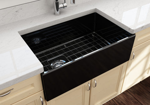 "BOCCHI Contempo 30"" Fireclay Farmhouse Apron Single Bowl Kitchen Sink, Black, 1346-005-0120 Lifestyle Image 