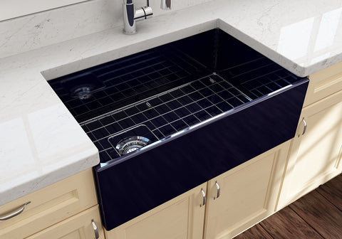 "BOCCHI Contempo 30"" Fireclay Farmhouse Apron Single Bowl Kitchen Sink, Sapphire Blue, 1346-010-0120 Lifestyle Image 