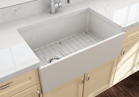 "BOCCHI Contempo 30"" Fireclay Farmhouse Apron Single Bowl Kitchen Sink, Biscuit, 1346-014-0120 Lifestyle Image 