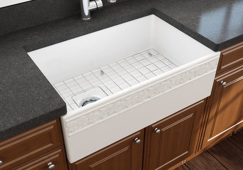 "BOCCHI Vigneto 30"" Fireclay Farmhouse Apron Single Bowl Kitchen Sink, White, 1347-001-0120 Lifestyle Image 