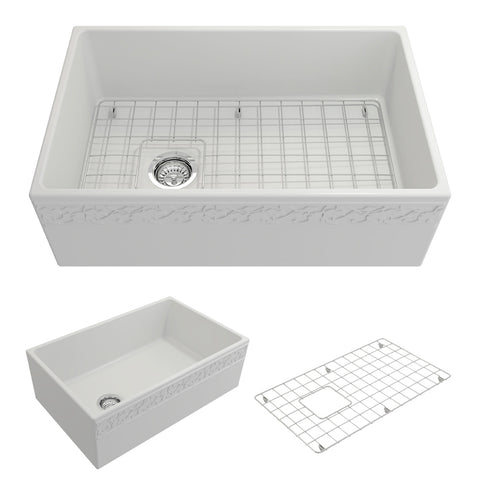 "BOCCHI Vigneto 30"" Fireclay Farmhouse Apron Single Bowl Kitchen Sink, Matte White, 1347-002-0120 Showcase Image 