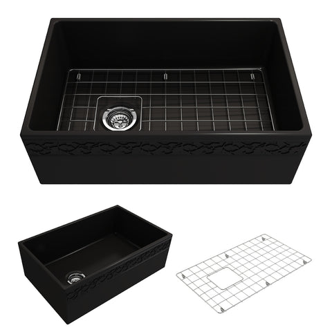 "BOCCHI Vigneto 30"" Fireclay Farmhouse Apron Single Bowl Kitchen Sink, Matte Black, 1347-004-0120 Showcase Image 