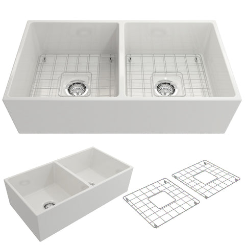 "BOCCHI Contempo 36"" Fireclay Farmhouse Apron 50/50 Double Bowl Kitchen Sink, White, 1350-001-0120 Showcase Image 