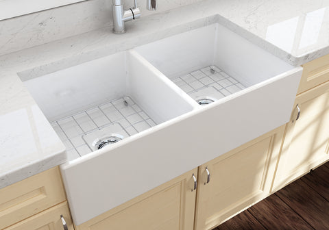 "BOCCHI Contempo 36"" Fireclay Farmhouse Apron 50/50 Double Bowl Kitchen Sink, White, 1350-001-0120 Lifestyle Image 