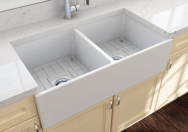 "BOCCHI Contempo 36"" Fireclay Farmhouse Apron 50/50 Double Bowl Kitchen Sink, Matte White, 1350-002-0120 Lifestyle Image 