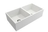 "BOCCHI Contempo 36"" Fireclay Farmhouse Apron 50/50 Double Bowl Kitchen Sink, Matte White, 1350-002-0120 