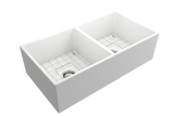 "BOCCHI Contempo 36"" Fireclay Farmhouse Apron 50/50 Double Bowl Kitchen Sink, Matte White, 1350-002-0120 with Grid Angled View 