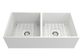 "BOCCHI Contempo 36"" Fireclay Farmhouse Apron 50/50 Double Bowl Kitchen Sink, Matte White, 1350-002-0120 with Grid Straight View 