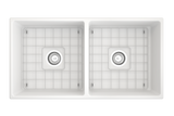 "BOCCHI Contempo 36"" Fireclay Farmhouse Apron 50/50 Double Bowl Kitchen Sink, Matte White, 1350-002-0120 Top View with Grid 