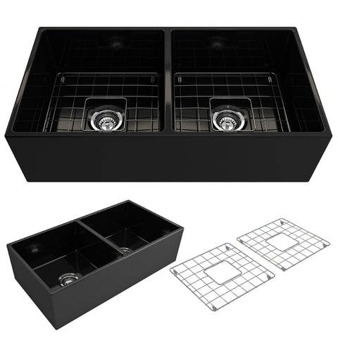 "BOCCHI Contempo 36"" Fireclay Farmhouse Apron 50/50 Double Bowl Kitchen Sink, Matte Black, 1350-004-0120 Showcase Image 